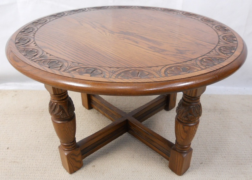 Attractive Round Carved Oak Coffee Table By Jaycee   SOLD